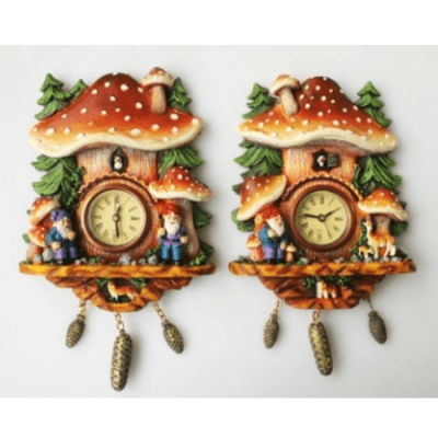 mushroom gnome cuckoo clock