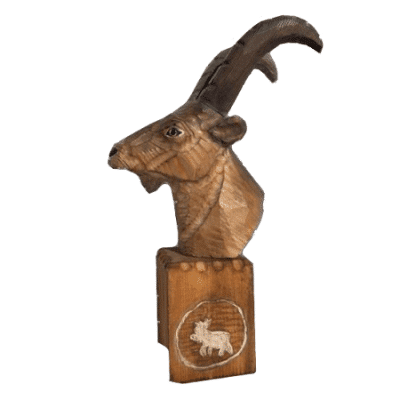 Carved Goat Head Timber Souvenir